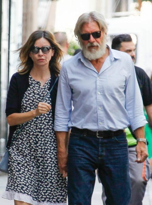 Calista Flockhart and husband Harrison Ford on a vacation in Barcelona, Spain in July 2016