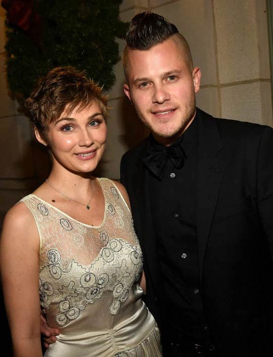 Clare Bowen and Brandon Robert Young at the CMT Artists of the Year in December 2015