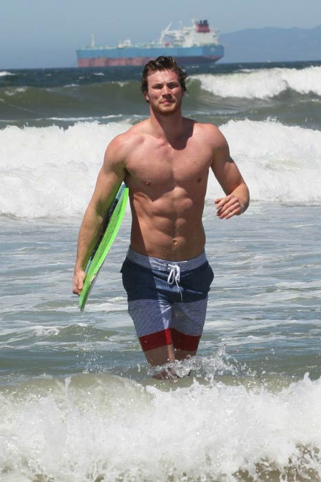Derek Theler during morning surf at Malibu beach in June 2013
