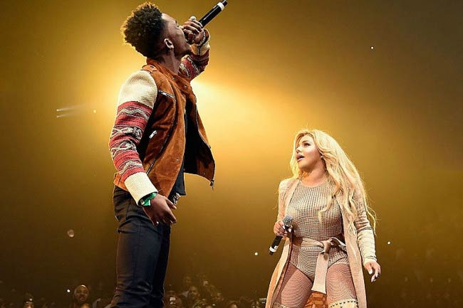 Desiigner and Lil' Kim on the stage at the BET Awards in June 2016