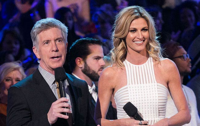 Erin Andrews and Tom Bergeron while hosting 'Dancing With the Stars'