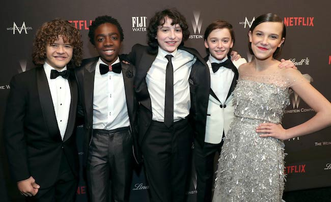 Finn Wolfhard [Center] at The Weinstein Company and Netflix Golden Globes Party in January 2017