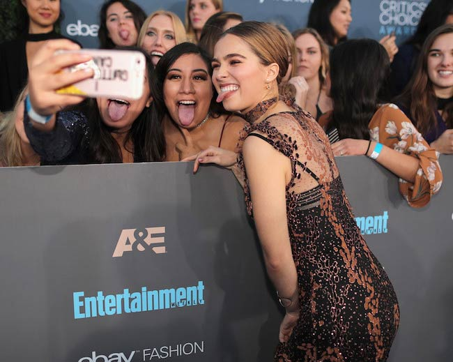 Haley Lu Richardson with fans at Critics' Choice Awards in December 2016