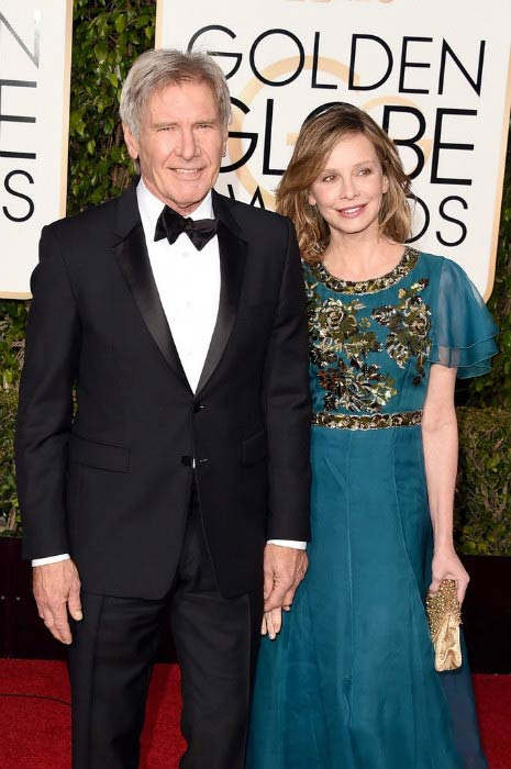 Harrison Ford and Calista Flockhart at the 73rd Annual Golden Globe Awards in January 2016