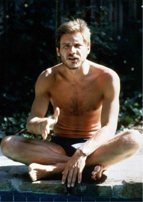 Harrison Ford shirtless in an old photo