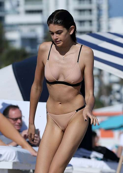 Kaia Gerber in bikini on Miami beach in December 2016