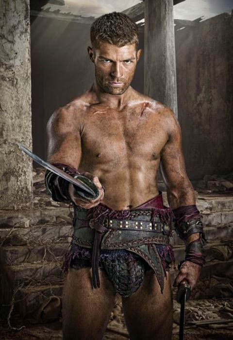 Liam McIntyre shirtless body in a still from Spartacus