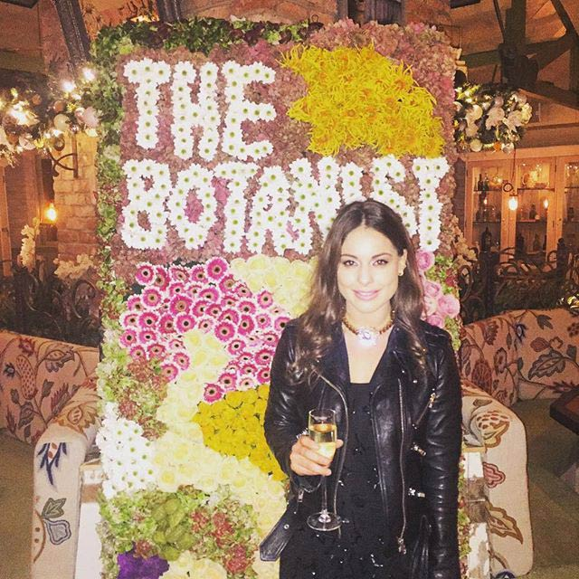 Louise Thompson with a drink