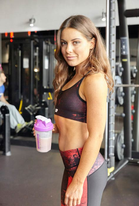 Louise Thompson with her MyProtein Shake