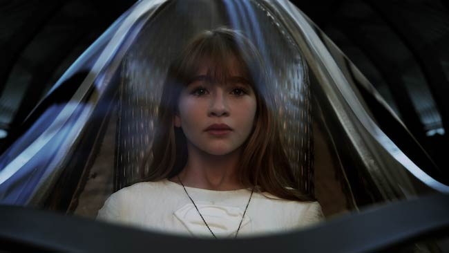 Malina Weissman as Young Kara Zor-El in a still from Supergirl