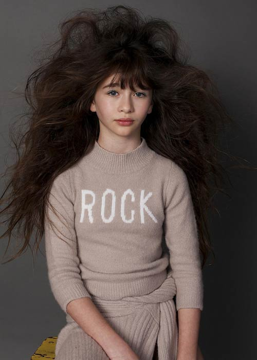 Malina Weissman during a modeling shoot for Velveteen and Submarine Swim in 2015