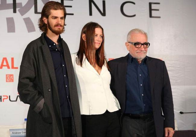 Martin Scorsese and Andrew Garfield during the press conference to promote their new movie Silence in May 2015 in Taiwan