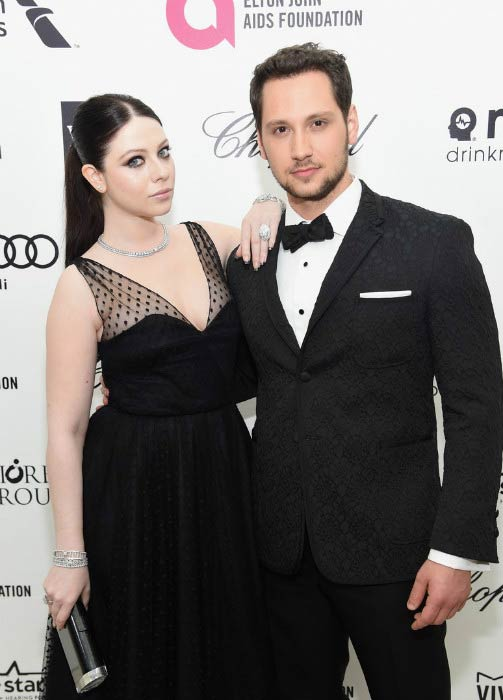 Matt McGorry and Michelle Trachtenberg at the Elton John AIDS Foundation Viewing Party in February 2015