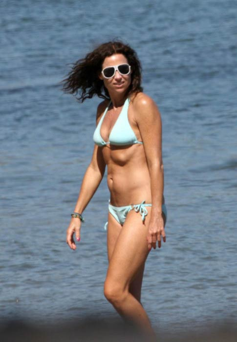 Minnie Driver in bikini at the Malibu beach in September 2011