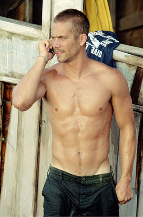Paul Walker shirtless body in a snapshot taken in 2008