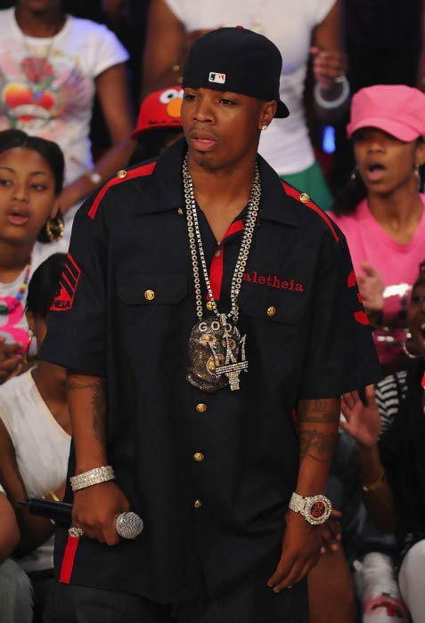 "Plies on the stage during BET's ""106 & Park"" event in July 2008"