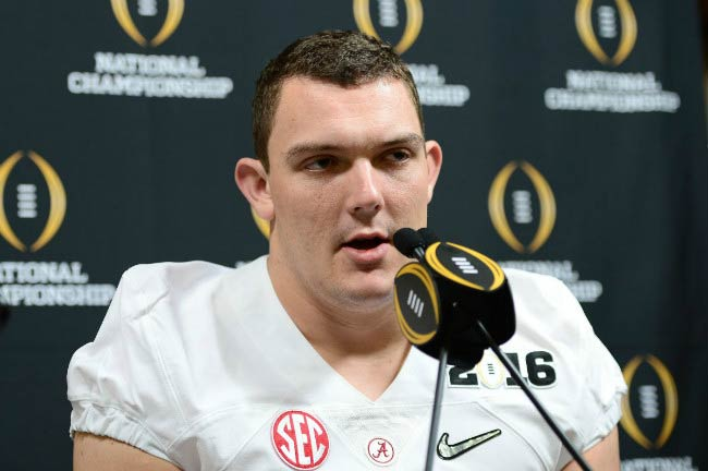 Ryan Kelly at the press conference for Alabama Crimson Tide in April 2016