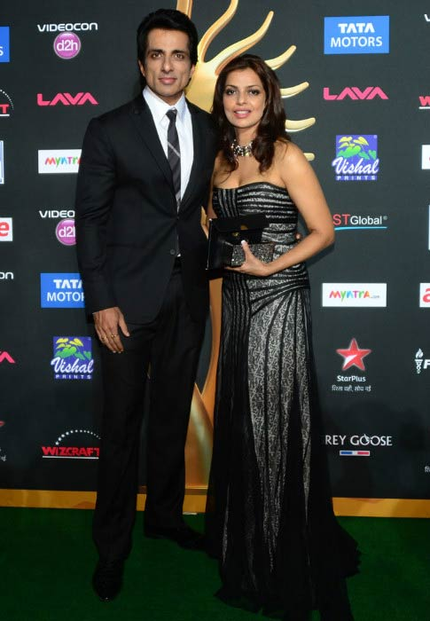 Sonu Sood and Sonali Sood at the IIFA Magic of the Movies event in Tampa, Florida in April 2014