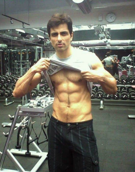 Sonu Sood showing his abs in a picture uploaded on his social media account