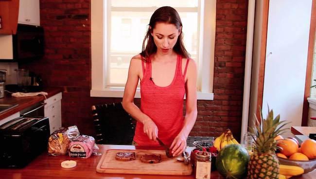 Tara Stiles making food in the kitchen