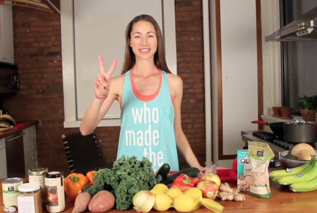 Tara Stiles with vegetables and fruits