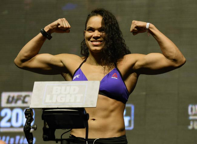 Amanda Nunes on the scale during her weigh-in for UFC 200 in July 2016