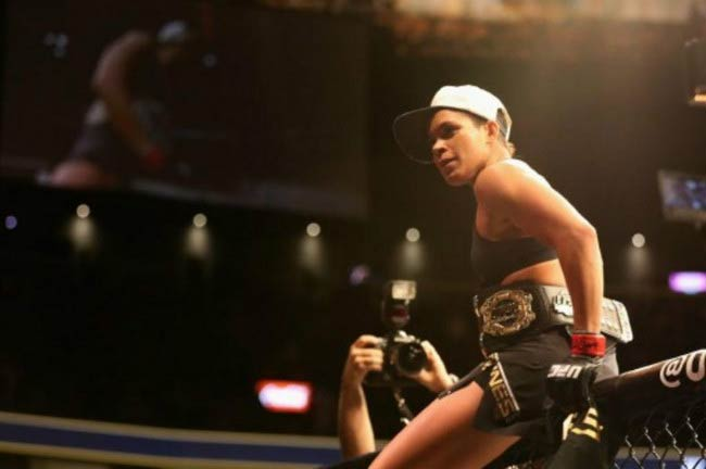 Amanda Nunes after victory over Ronda Rousey in their UFC women's bantamweight championship bout during the UFC 207 event in December 2016