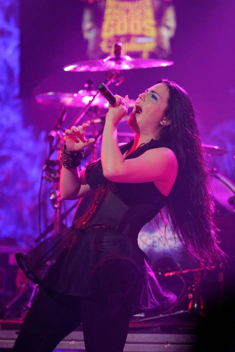 Amy Lee performing onstage during the Revolver Golden Gods Award Show in April 2012