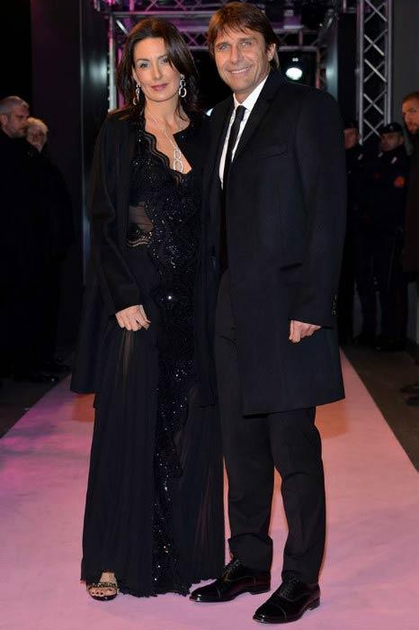 Antonio Conte and Elisabetta Muscarello at the Gazzetta Sports Awards in 2015