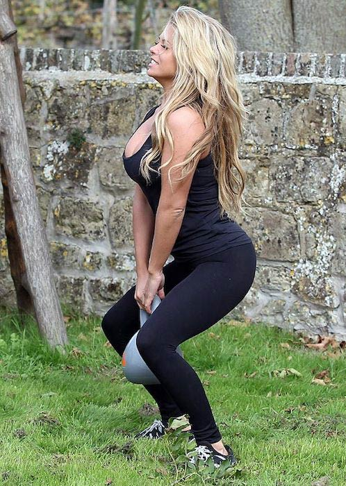 Bianca Gascoigne working out on Sussex beach