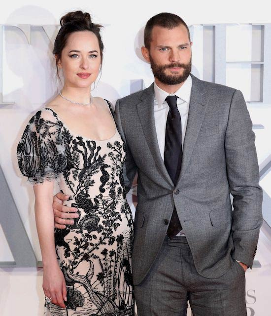 Dakota Johnson and Jamie Dornan at the UK premiere of Fifty Shades Darker in February 2017