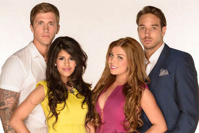 Daniel J Osborne, Jasmin Walia, Abigail Clarke, and James Lock in TOWIE