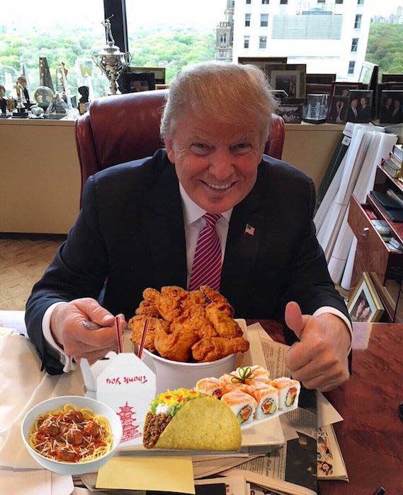 Donald Trump eating food