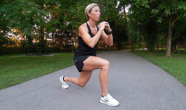 Erin Oprea demonstrates a lunge