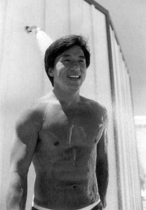 Jackie Chan shirtless in a modeling photoshoot