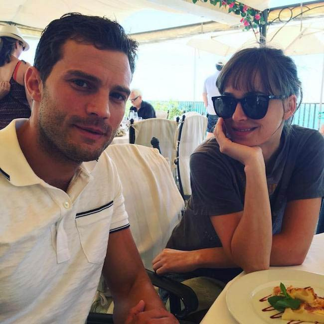 Jamie Dornan and Dakota Johnson having food