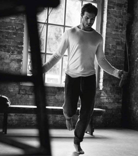Jamie Dornan exercising