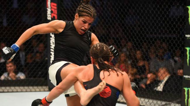 Julianna Pena against Jessica Eye in women's bantamweight bout during the UFC 192 event in October 2015