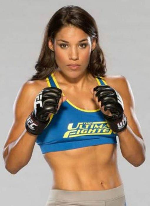 Julianna Pena in a photoshoot for The Ultimate Fighter in 2016