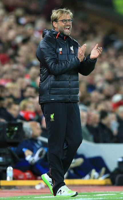 Jurgen Klopp during a match between Liverpool and West Bromwich Albion in October 2016