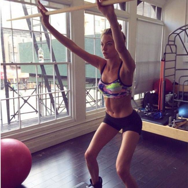 Martha Hunt exercising
