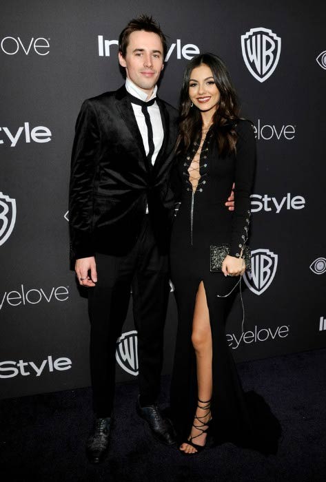 Reeve Carney and Victoria Justice at the 73rd Annual Golden Globe Awards Post-Party in January 2017