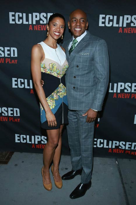 Renee Elise Goldsberry and Alexis Johnson at the Eclipsed Broadway opening night in March 2016