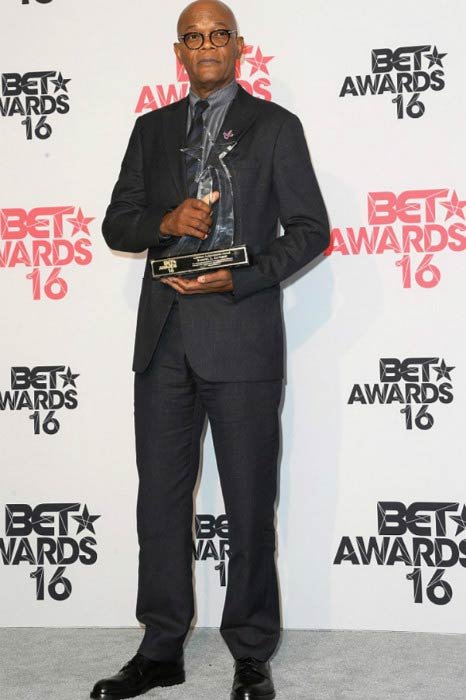 Samuel L. Jackson with the BET Lifetime Achievement Award in June 2016