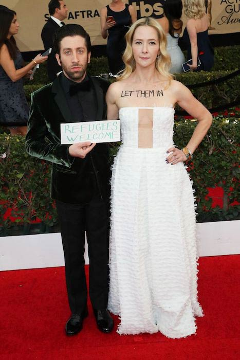 Simon Helberg with wife Jocelyn Towne at 2017 Screen Actors Guild Awards