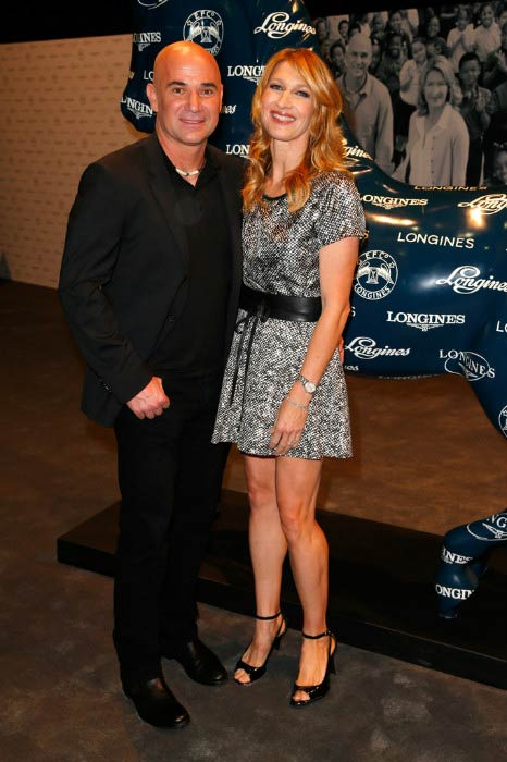 Steffi Graf and Andre Agassi at the Longines Los Angeles Masters event in September 2014