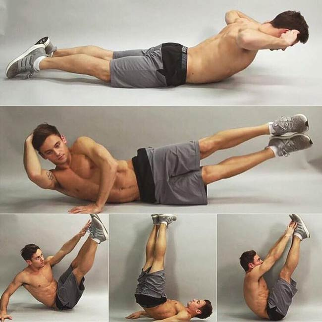 Tom Daley at various workout moments
