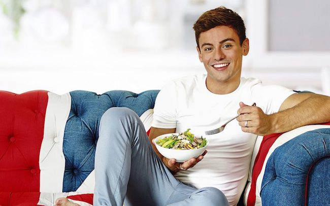 Tom Daley eating a salad