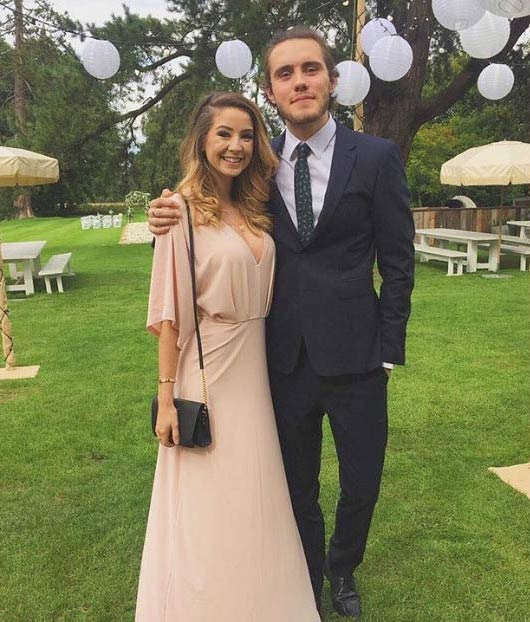 Alfie Deyes and Zoe Sugg at the Tanya Burr and Jim Chapman's wedding in September 2015