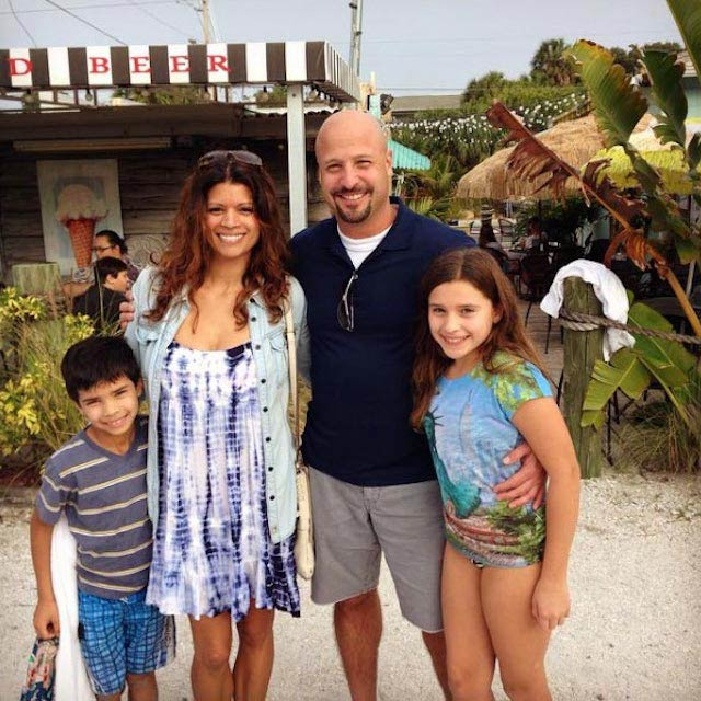 Andrea Navedo with husband and her two children